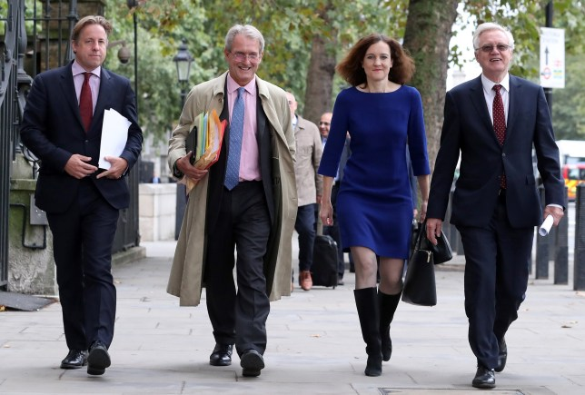 Conservative MP Marcus Fysh (L), Britain's former Environment Secretary, Owen Paterson (2L), Britain's former Northern Ireland Secretary, Theresa Villiers (2R), and Britain's former Secretary of State for Exiting the European Union (Brexit Minister) David Davis (R) arrive to attend a meeting of the pro-Brexit European Research Group (ERG) in central London on September 12, 2018. (Photo by Daniel LEAL-OLIVAS / AFP) (Photo credit should read DANIEL LEAL-OLIVAS/AFP via Getty Images)