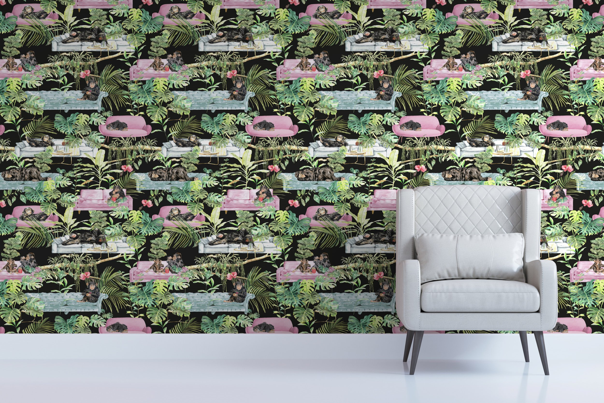 Monkey Business Wallpaper, £125 per roll, Graduate Collection. Buy it with the Ownable app.