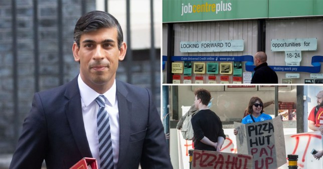 Rishi Sunak alongside a picture of the job centre.