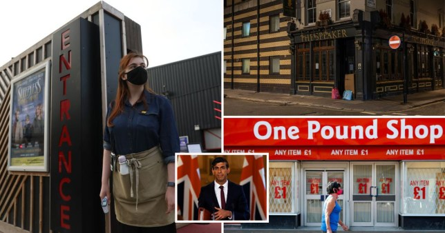 A worker wears a mask, Chancellor Rishi Sunak, the outside of a pub and a One Pound Shop entrance