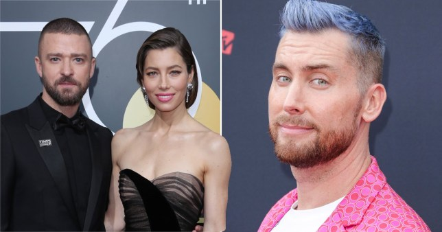 Justin Timberlake and Jessica Biel pictured separately alongside Lance Bass