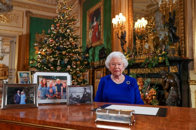 Mandatory Credit: Photo by REX (10512293a) Queen Elizabeth II records her annual Christmas broadcast in Windsor Castle, Berkshire Queen Elizabeth II Christmas broadcast, London, UK - 25 Dec 2019