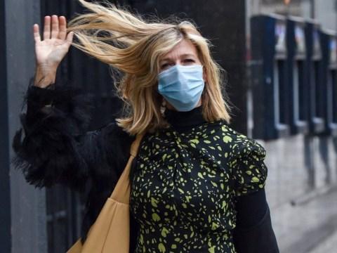 Kate Garraway laughs off helmet hair as she battles windy weather after bike ride to work