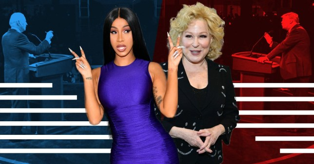 Cardi B and Bette Midler reacting to the Trump and Biden debate