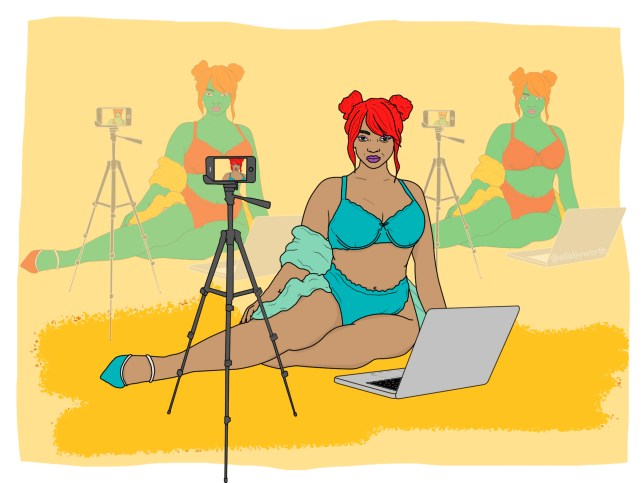 Illustration of camgirl in front of camera in front of yellow background