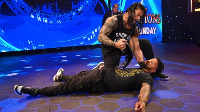 Universal Champion Roman Reigns destroys WWE superstar Jey Uso on SmackDown as Paul Heyman watches