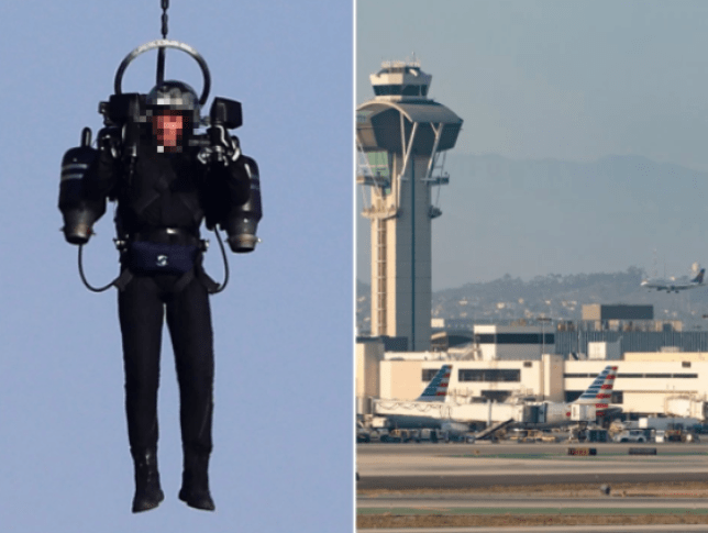 FILE PIX OF MAN ON JETPACK AND LAX RUNWAY