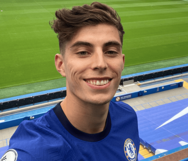 Chelsea new boy Kai Havertz poses at Stamford Bridge after his transfer move from Bayer Leverkusen