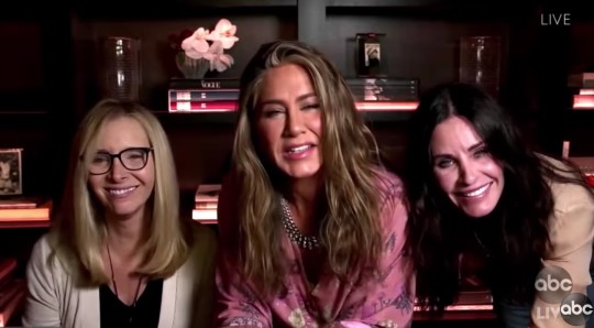 Lisa Kudrow, Jennifer Aniston and Courteney Cox appear via video link at Emmy Awards