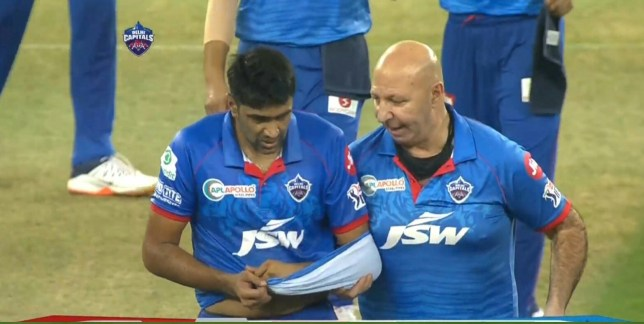 Ravi Ashwin left the field after injuring his arm during Delhi Capitals' IPL win
