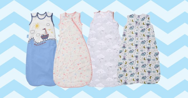 Baby sleeping bags on colourful background