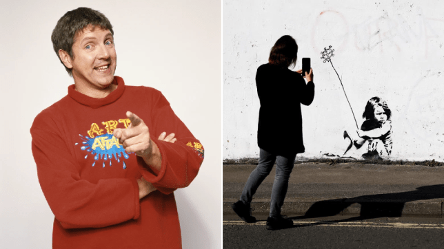 Art Attack's Neil Buchanan and Banksy mural.