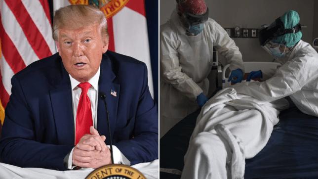 Donald Trump and coronavirus corpse in Texas