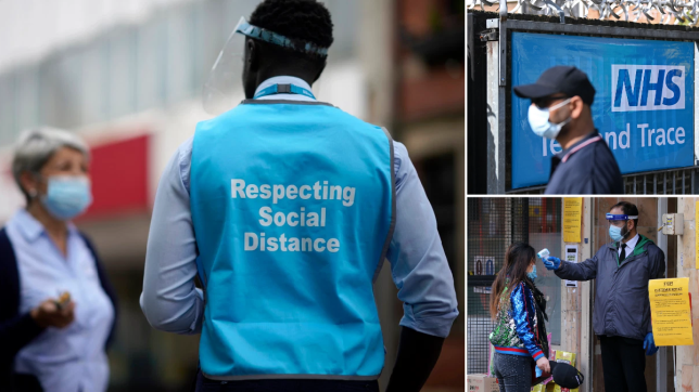 Man wears face mask and high-vis jacket saying 'respect social distancing' - a man walks past an NHS test and Trace billboard, and a shop assistant in a mask and visor checks a woman's temperature upon entry