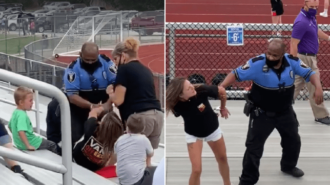Alecia Kitts is Tased by school resource officer Chris Smith in Logan, Ohio after refusing to wear a mask and refusing to leave the premises