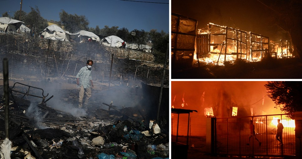 Fire in the Moria refugee camp on Lesbos, Greece.