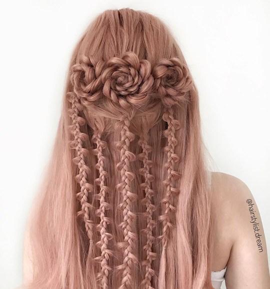 Braids on pink hair