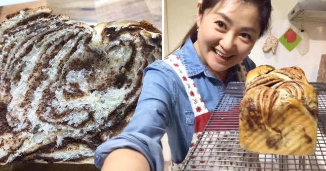 Fluffy chocolate marble bread