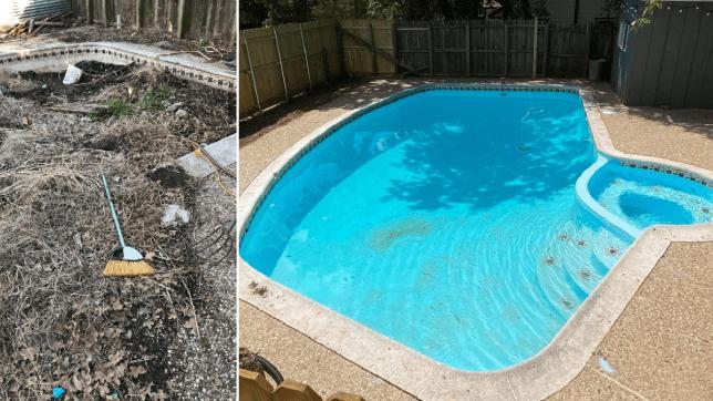 John Reynolds' swimming pool in the back garden