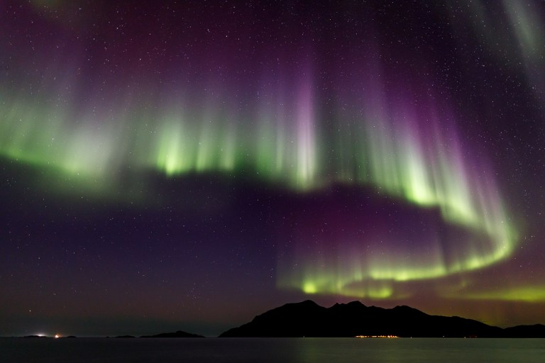 A photo captured of the Northern Lights in Tromsø, Norway