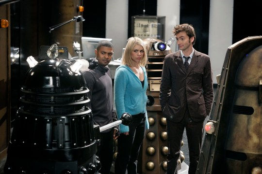 Picture shows:- Daleks with NOEL CLARKE as Mickey, BILLI PIPER as Rose and DAVID TENNANT as The Doctor..BBC ONE: Saturday July 8th, 2006....It is the end of an epic journey, as two mighty armies wage war across the Earth, with the human race caught in the middle. But as an unstoppable terror emerges from beneath Torchwood, The Doctor (David Tennant) faces an even greater dilemma - does saving the world mean the death of Rose Tyler (Billie Piper)?..WARNING: Use of this copyright image is subject to terms of Use of the Digital Picture Service. In particular, this image may only be used during the publicity period for the purpose of publicisng 'Doctor Who' and provided the BBC is credited. Any use of this image on the internet or for any other purpose whatsoever, including advertising and other commercial uses, requires the prior written approval of the BBC.