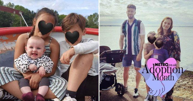Adam and Jade's niece and nephew with their daughter Harper, and right, the family together