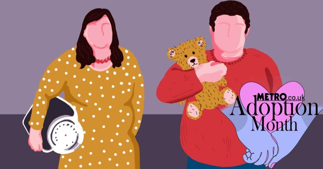Illustration of overweight couple - woman in yellow spotty dress holding some scales, a man in a red jumper holding a teddy bear