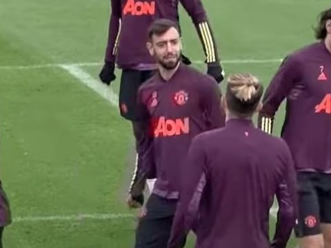 Bruno Fernandes gets angry with Alex Telles during Manchester United training