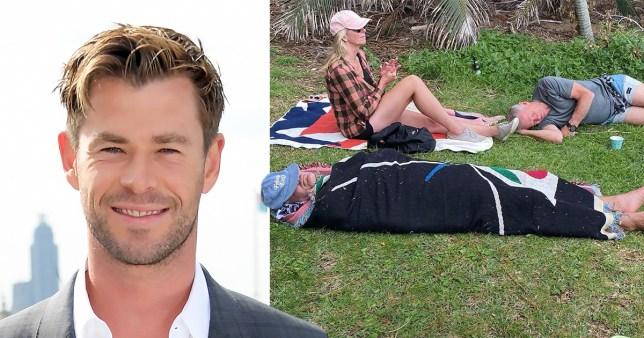 Chris Hemsworth pictured alongside Taika Waititi sleeping on grass