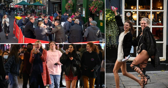 Composition of photographs showing people at pubs