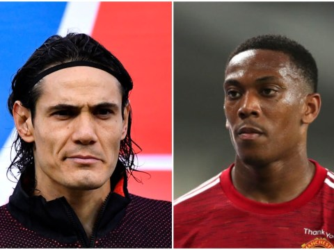 Edinson Cavani gives advice to Anthony Martial and Mason Greenwood after Manchester United move