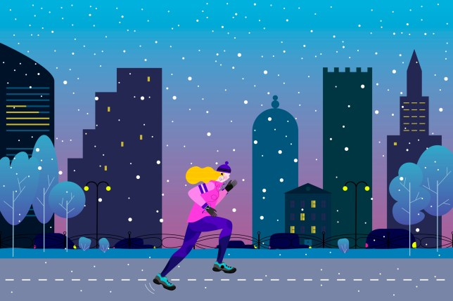 Young athletic woman doing jogging in winter colored city.