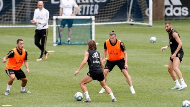 Eden Hazard, Luka Modric, Gareth Bale and Karim Benzema pictured in Real Madrid training