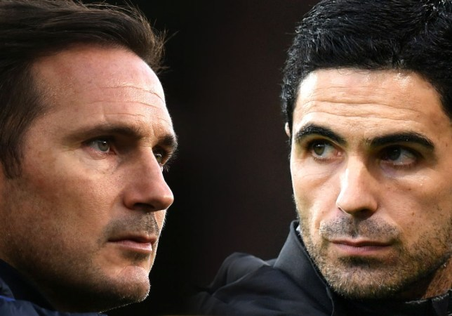 Chelsea manager Frank Lampard and Arsenal boss Mikel Arteta