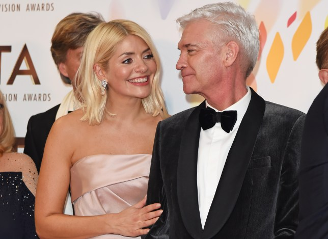 Phillip Schofield and Holly Willoughby on the red carpet.