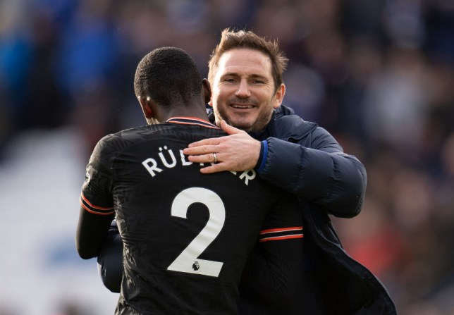 Antonio Rudiger hugs Frank Lampard after Chelsea's win over Leicester in the Premier League