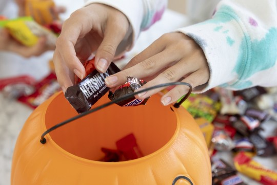 A child puts a Mars bar and Hershey bar ina pumpkin-shaped bucket.