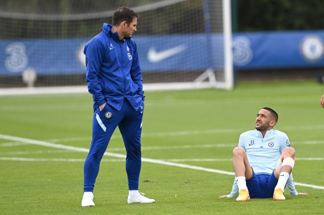 Frank Lampard and Hakim Ziyech chat in Chelsea training