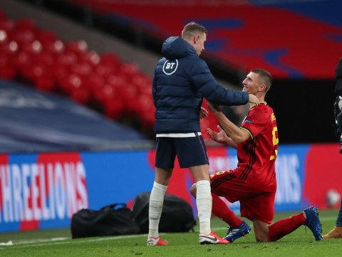 Thomas Meunier mocks Jordan Henderson after winning penalty in England win over Belgium