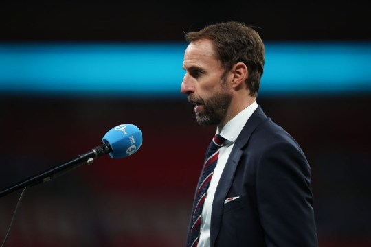 Gareth Southgate the head coach / manager of England gets interviewed by television after the UEFA Nations League group stage match between England and Belgium at Wembley Stadium on October 11, 2020 in London, United Kingdom. Football Stadiums around Europe remain empty due to the Coronavirus Pandemic as Government social distancing laws prohibit fans inside venues resulting in fixtures being played behind closed doors.