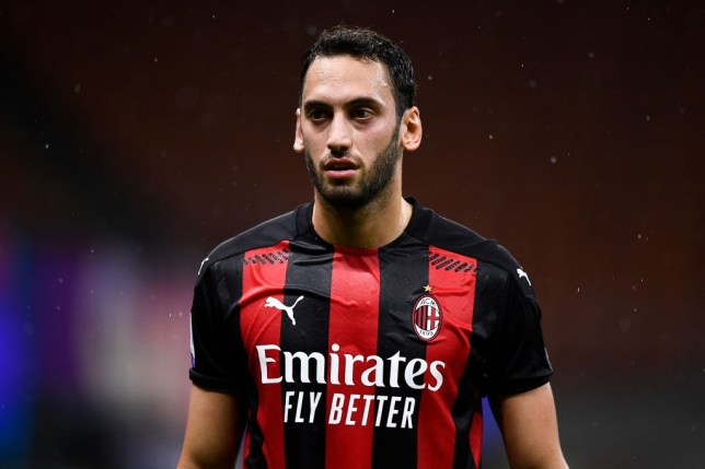 Hakan Calhanoglu of AC Milan looks on during the Serie A