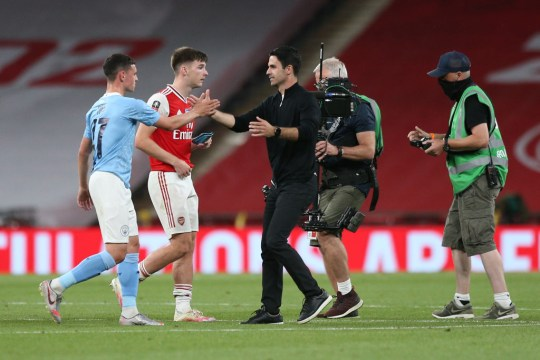 Mikel Arteta shakes hands with Phil Foden after Arsenal's FA Cup win over Manchester City