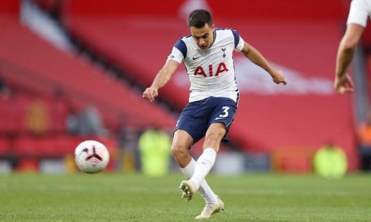 Sergio Reguilon kicks the ball during Tottenham's win over Manchester United in the Premier League