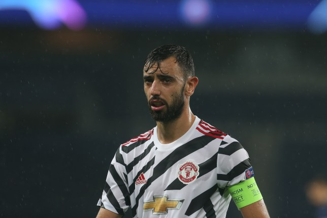 Bruno Fernandes looks on during Manchester United's Champions League win over PSG