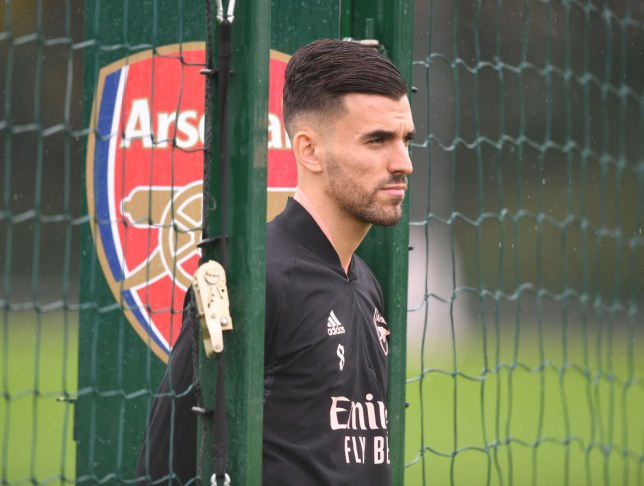 Dani Ceballos looks on in Arsenal training after recovering from an ankle injury