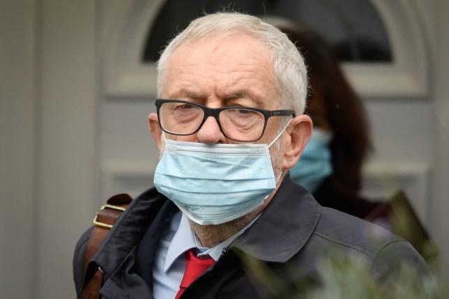 Jeremy Corbyn wearing a face mask