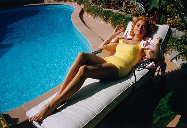 Rhonda Fleming Relaxing in Lounge Chair