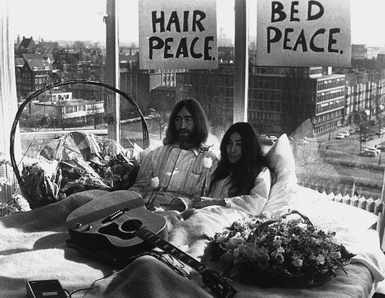 John and Yoko Holding Press Conference in Bed