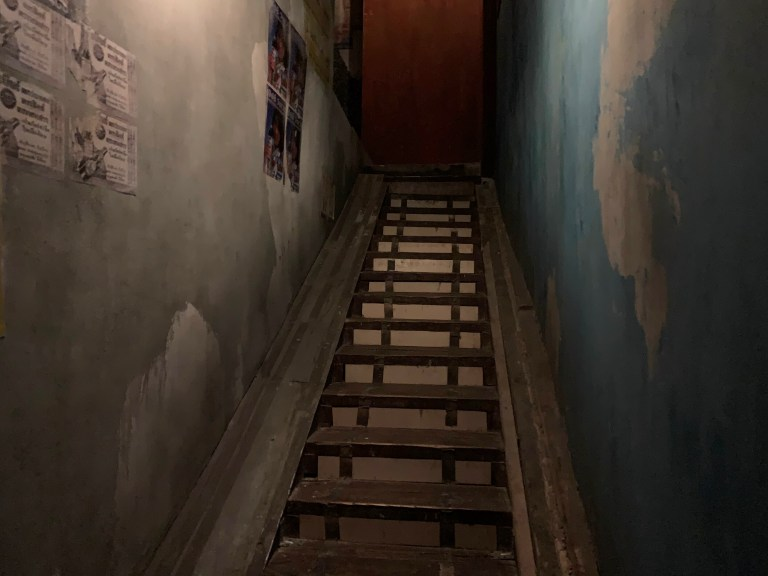 The stairs to the underground bunker