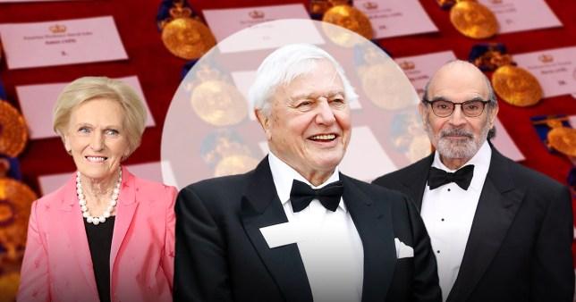 Mary Berry, Sir David Attenborough and David Suchet